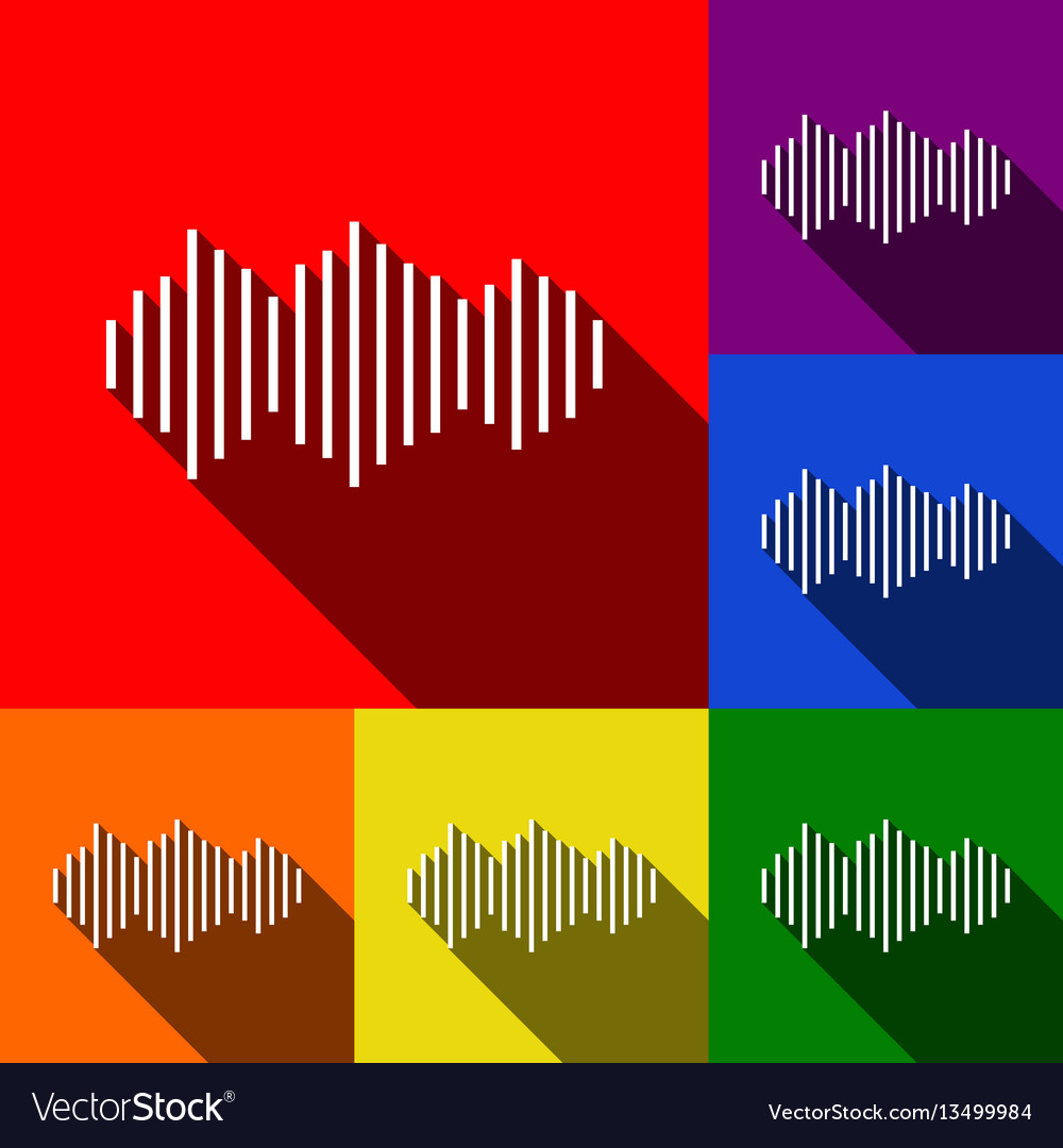 Sound waves icon set of icons with flat vector image