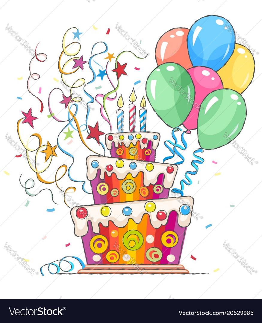 Birthday cake balls vector image