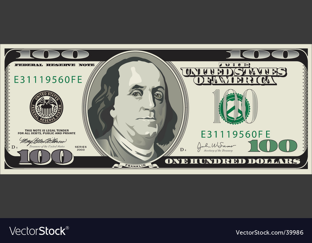 100 dollar bill template. 100 Dollar Bill Vector