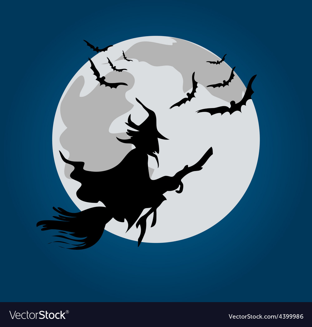 Halloween witch background vector image