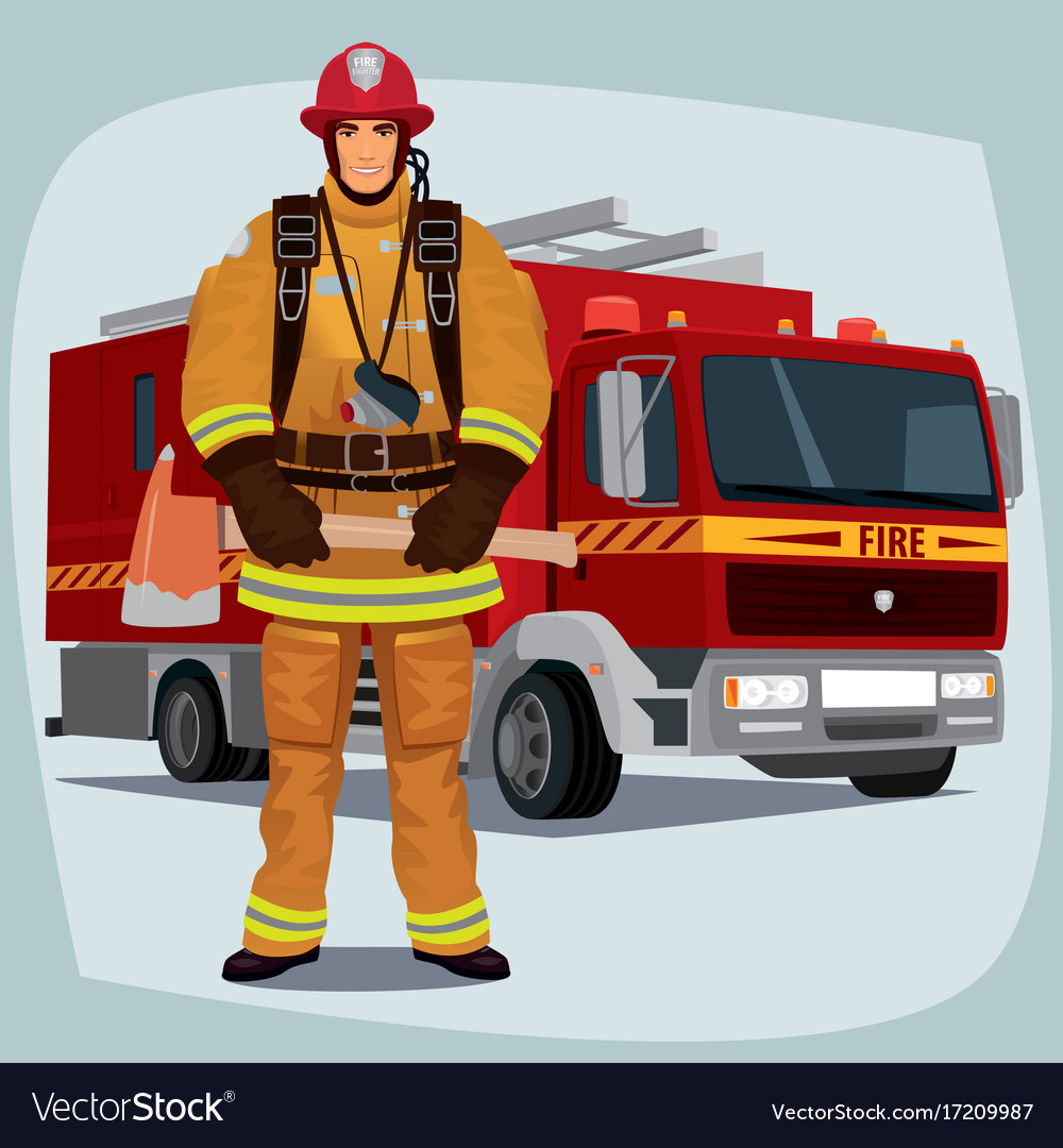 Firefighter or fireman with fire truck vector image