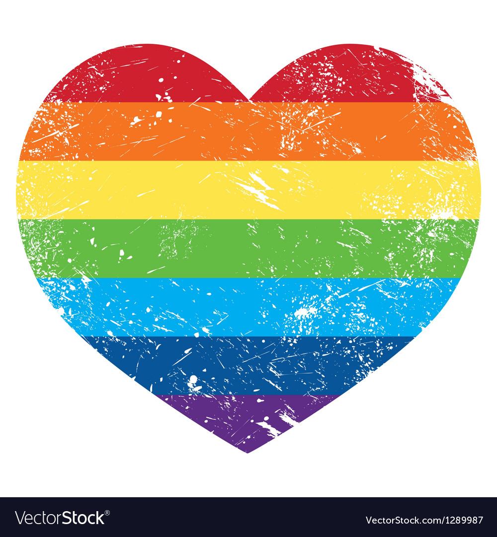 Gay rights rainbow retro heart flag vector image