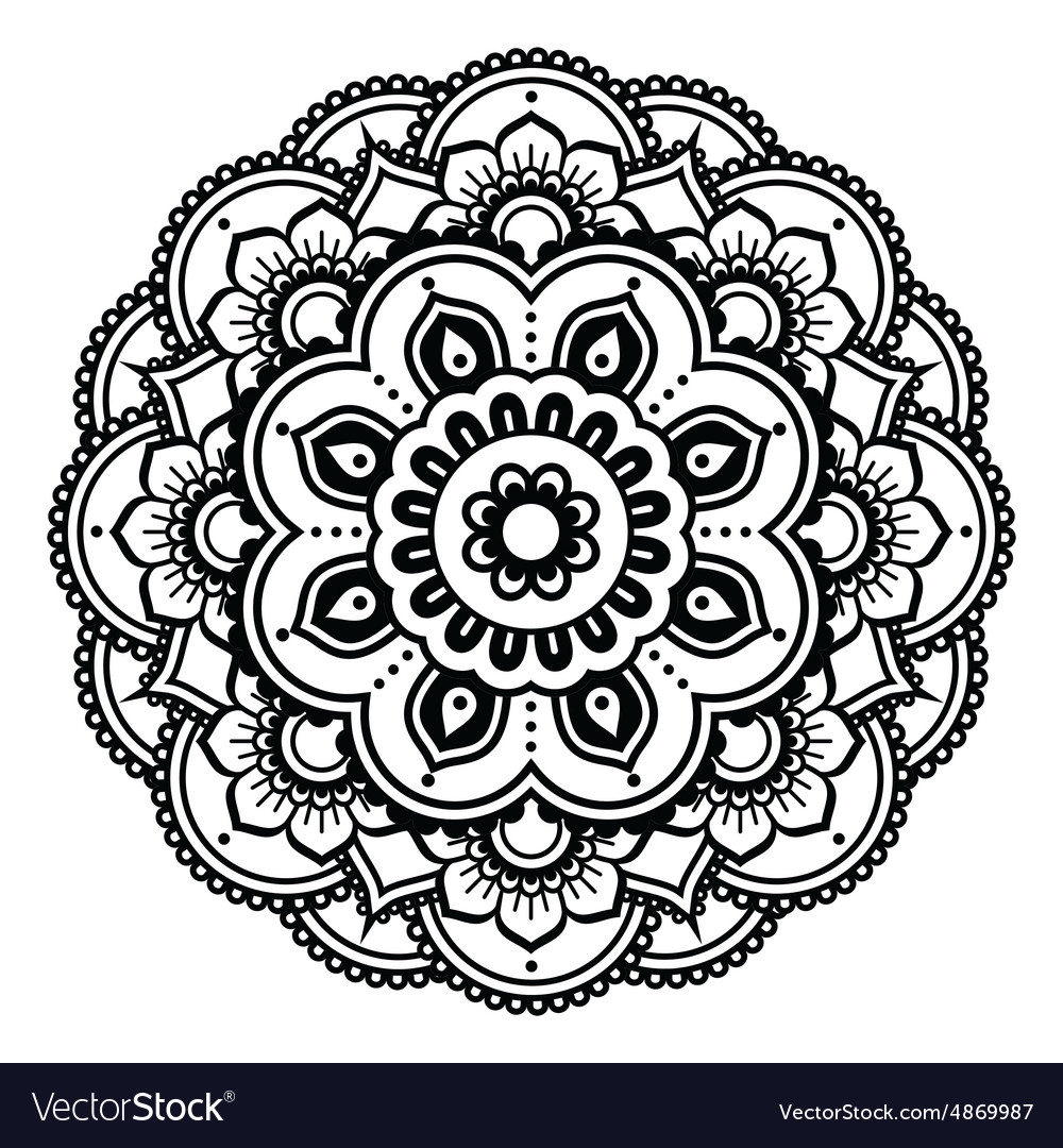 Henna Tattoo Vector: Indian Henna Tattoo Pattern Or Background Vector Image