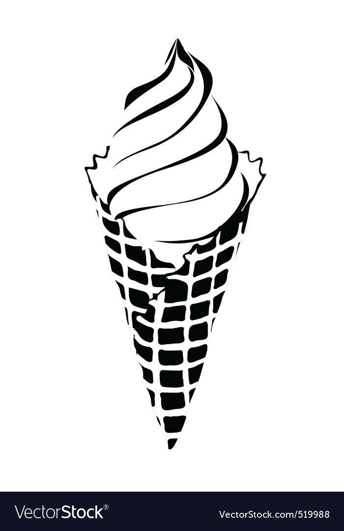 Ice cream cone vector black