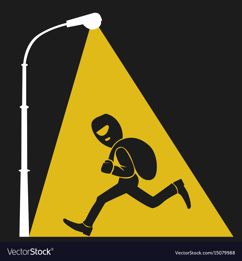 Lamppost lights on thief with sack of money vector image
