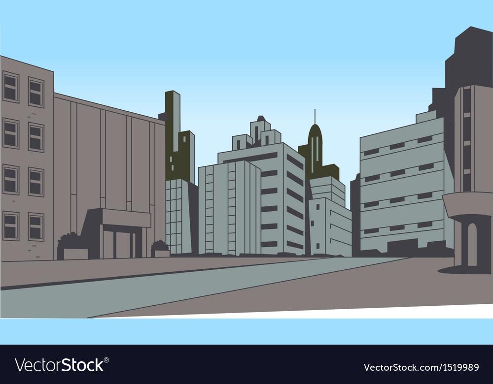 Comics City Street Scene Background Vector Image
