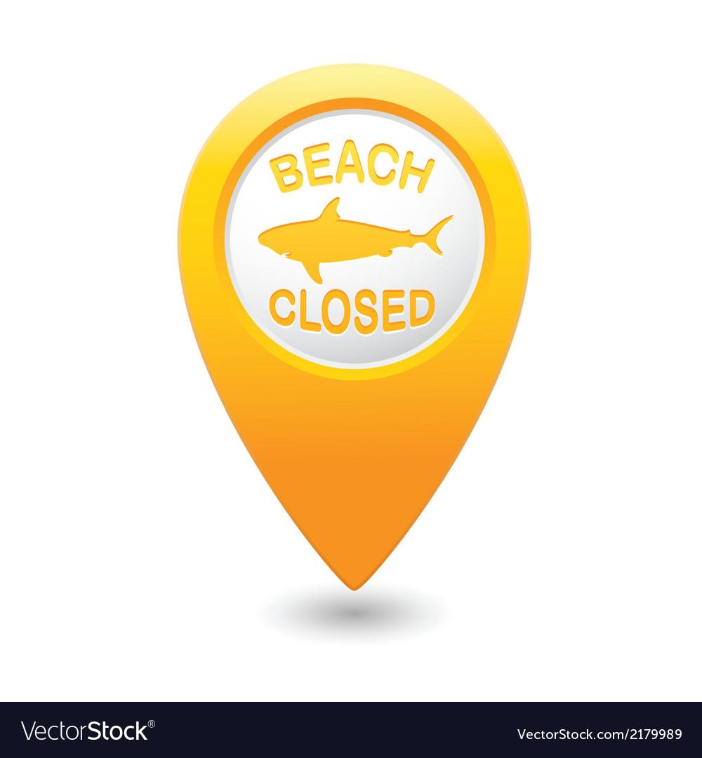 Shark sighting sign on yellow map pointer vector image
