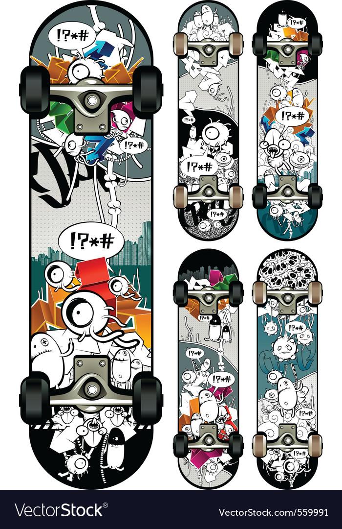 Graffiti skateboards vector image