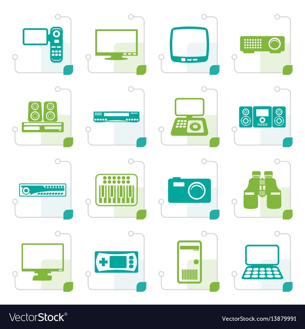 Stylized hi-tech equipment icons vector image