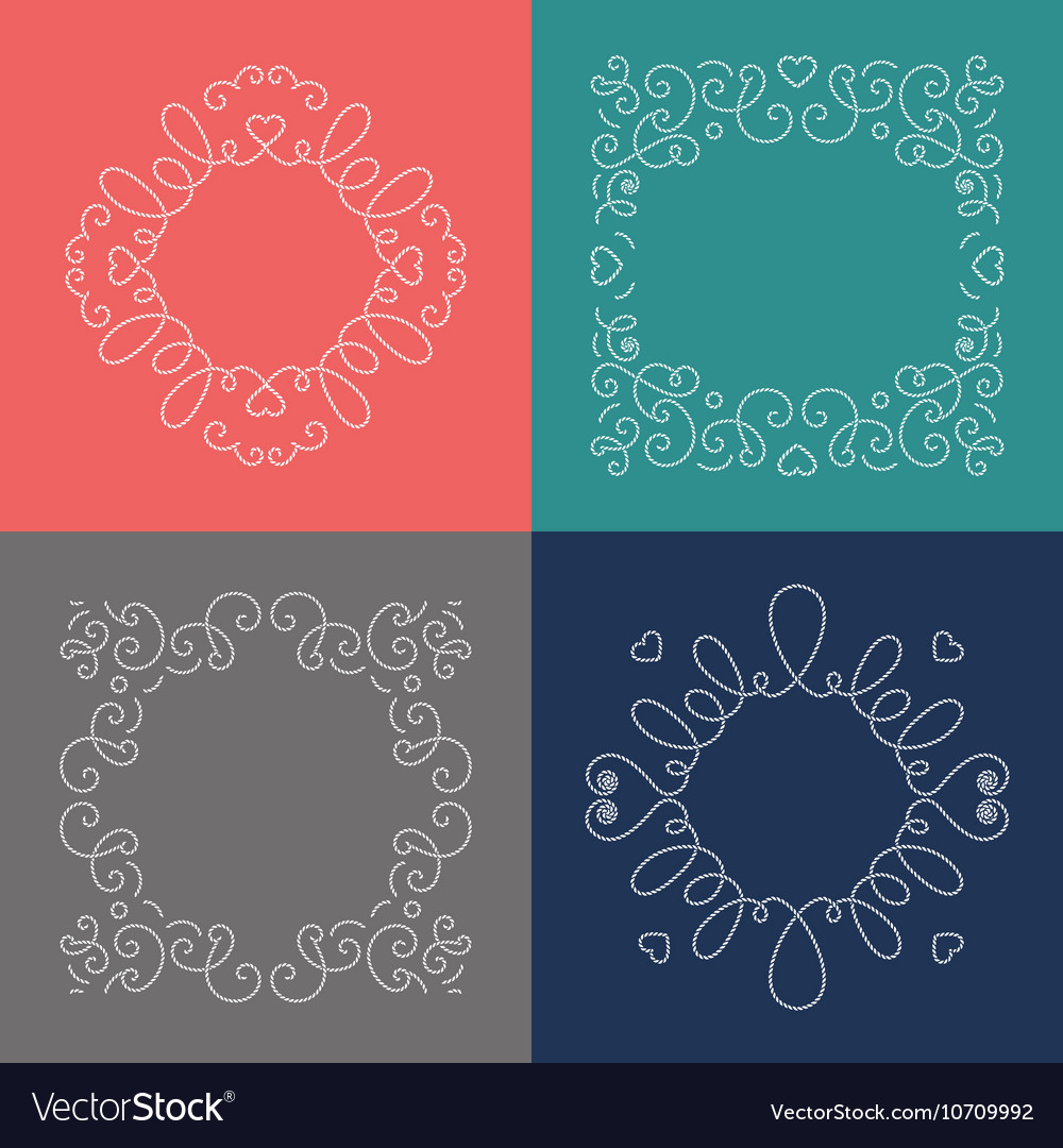 rope frames decorative nautical frame marine vector image - Nautical Frames