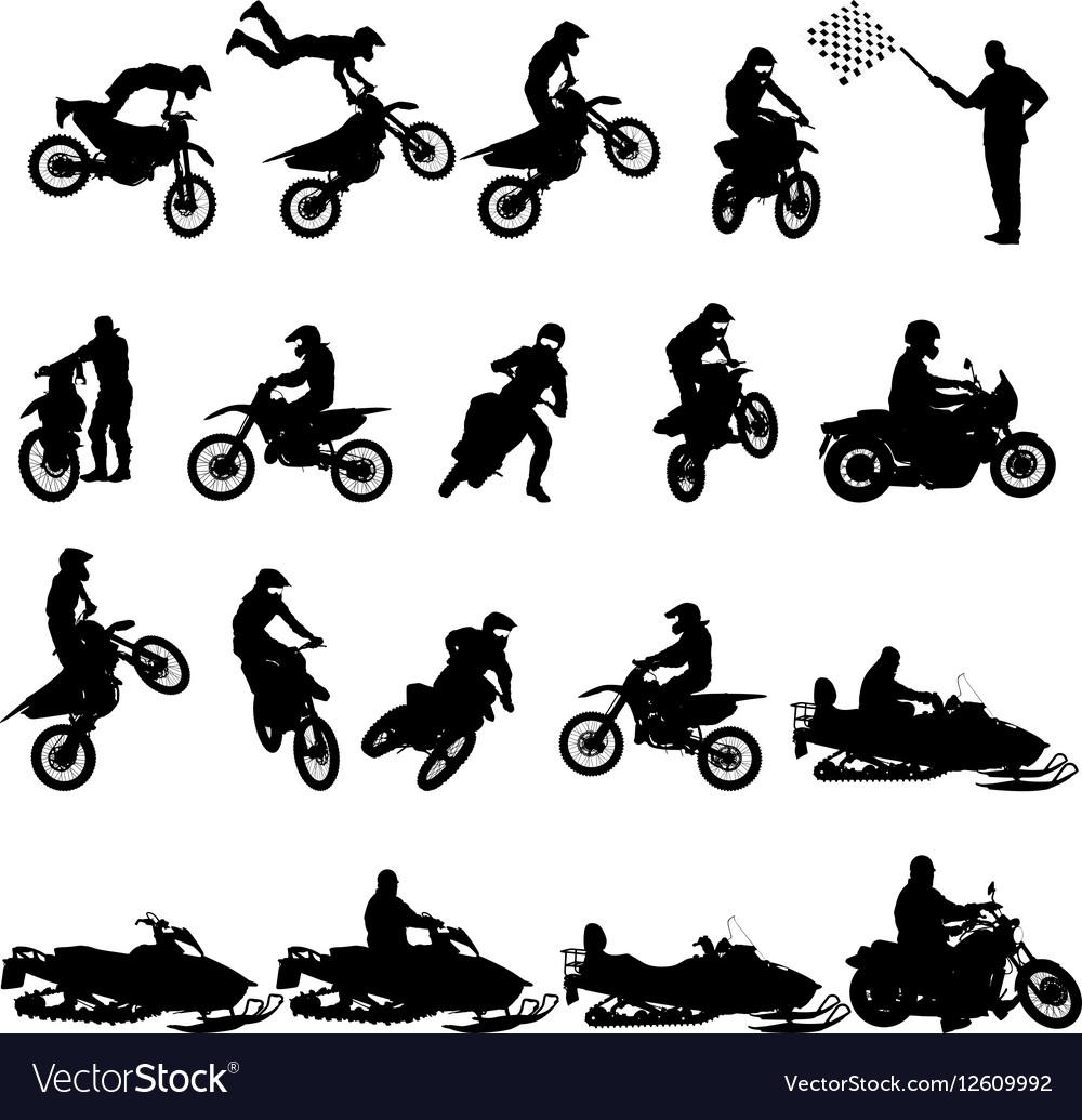Set of biker motocross silhouettes vector image