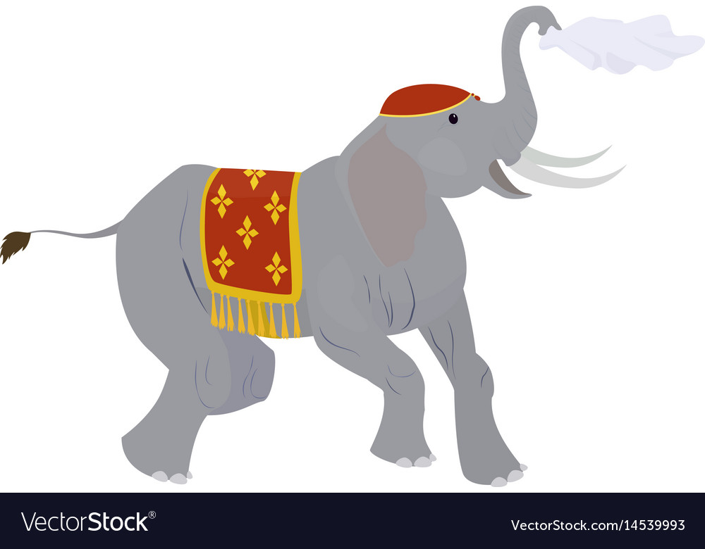 Circus elephant waving a handkerchief isolated on vector image