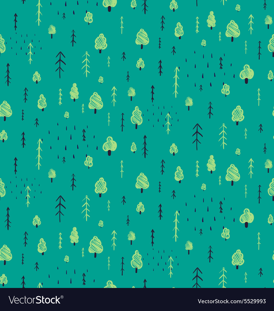Forest Hand Drawn Seamless Pattern Background vector image