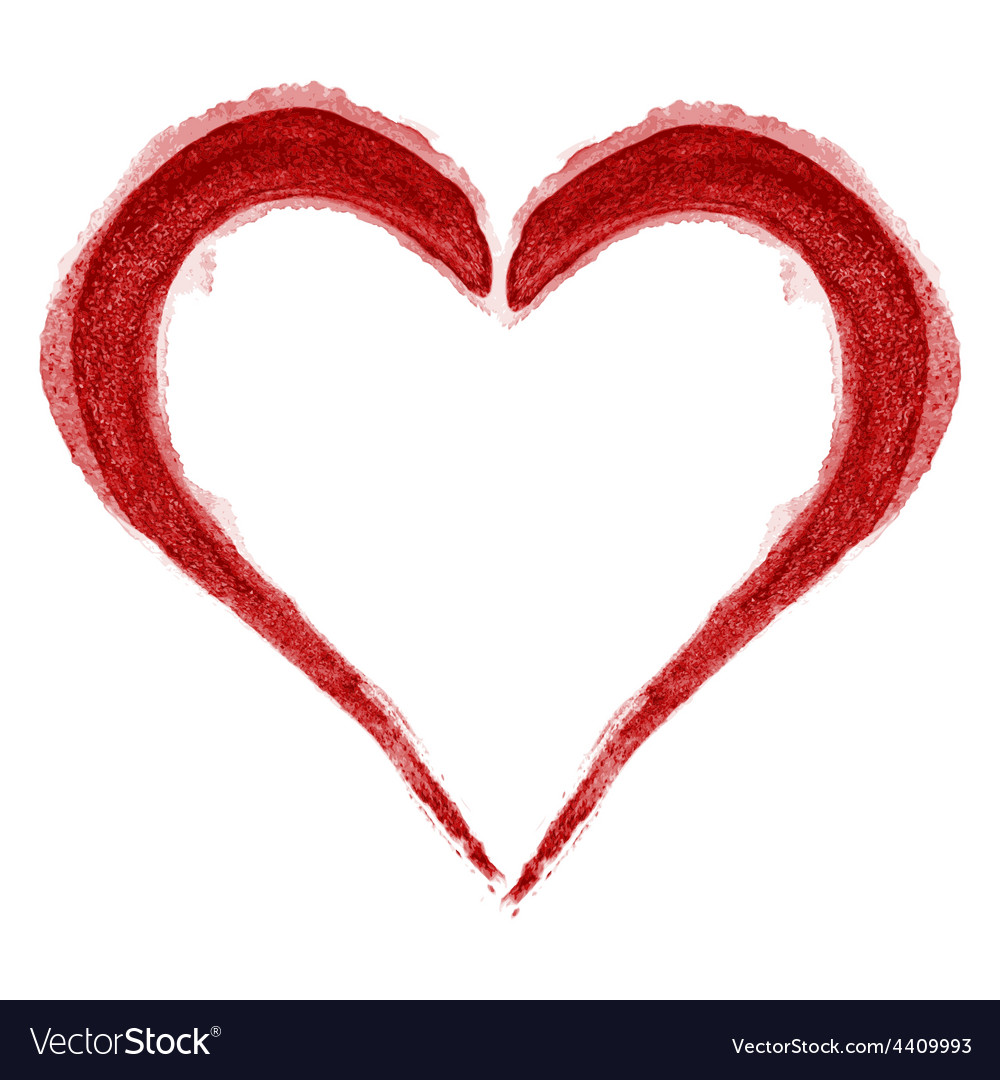 Red Heart Brushed vector image