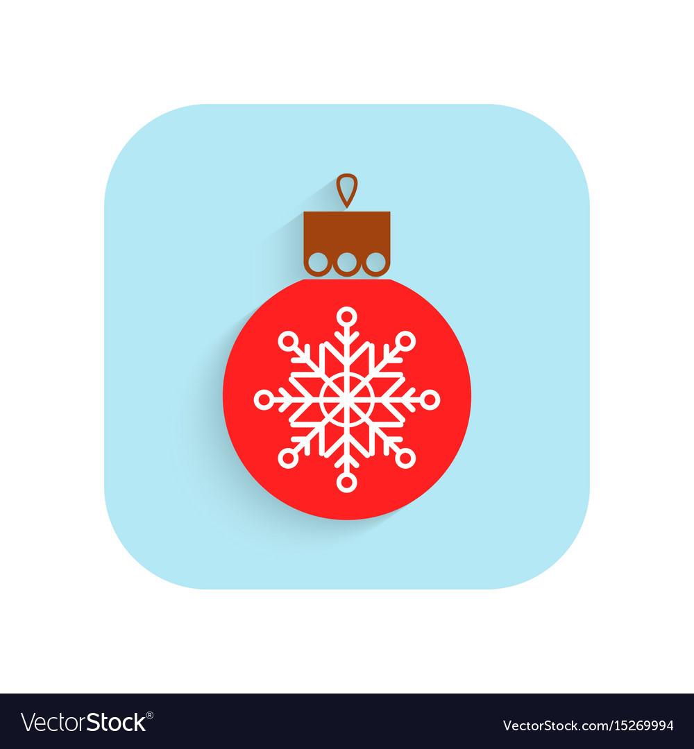 christmas tree ball flat icon holiday symbol vector image - Flat Christmas Tree