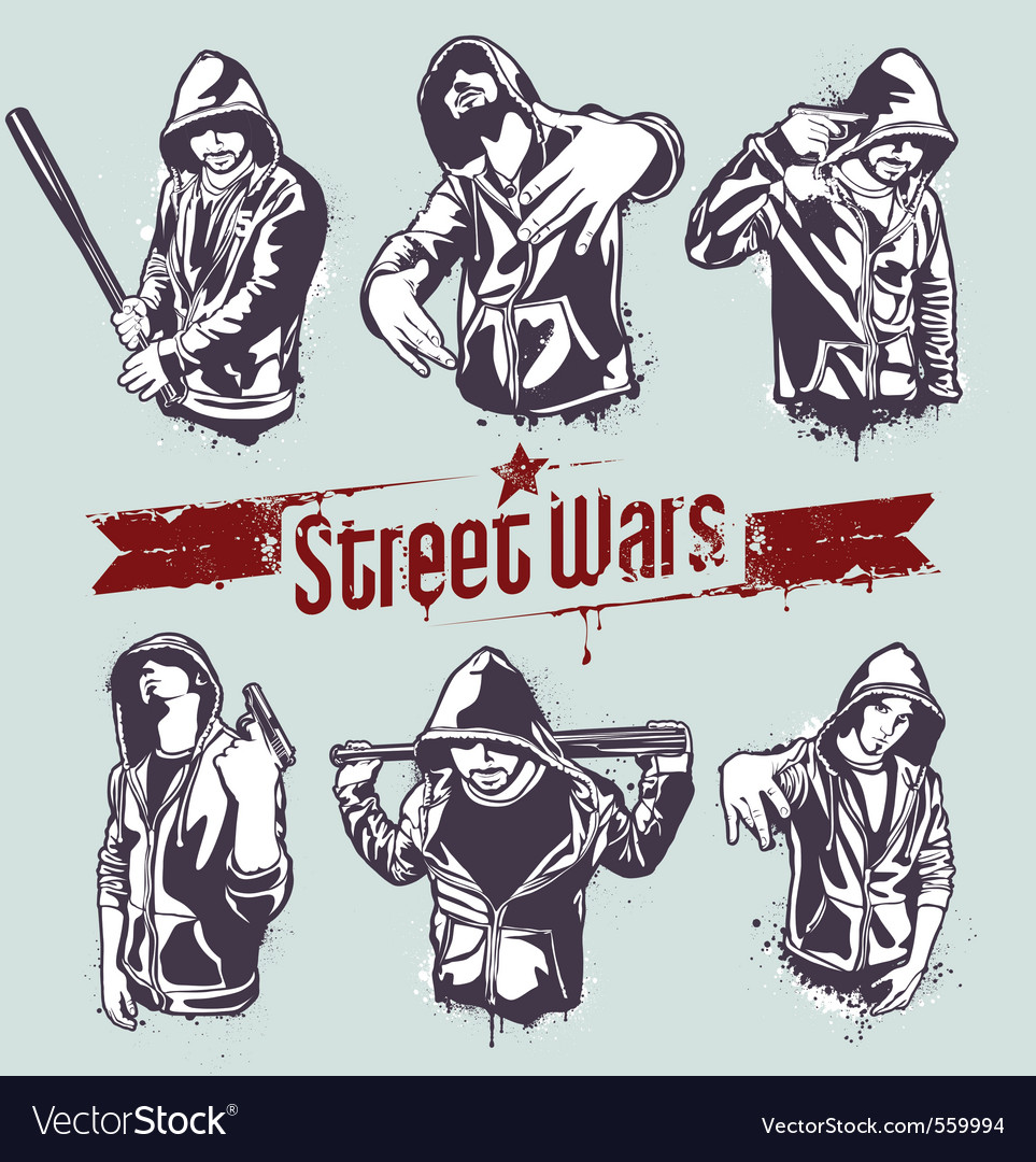 Gangster stencils vector image