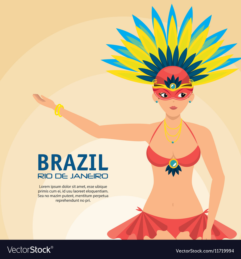 Poster brazil rio de janeiro garota presenting vector image