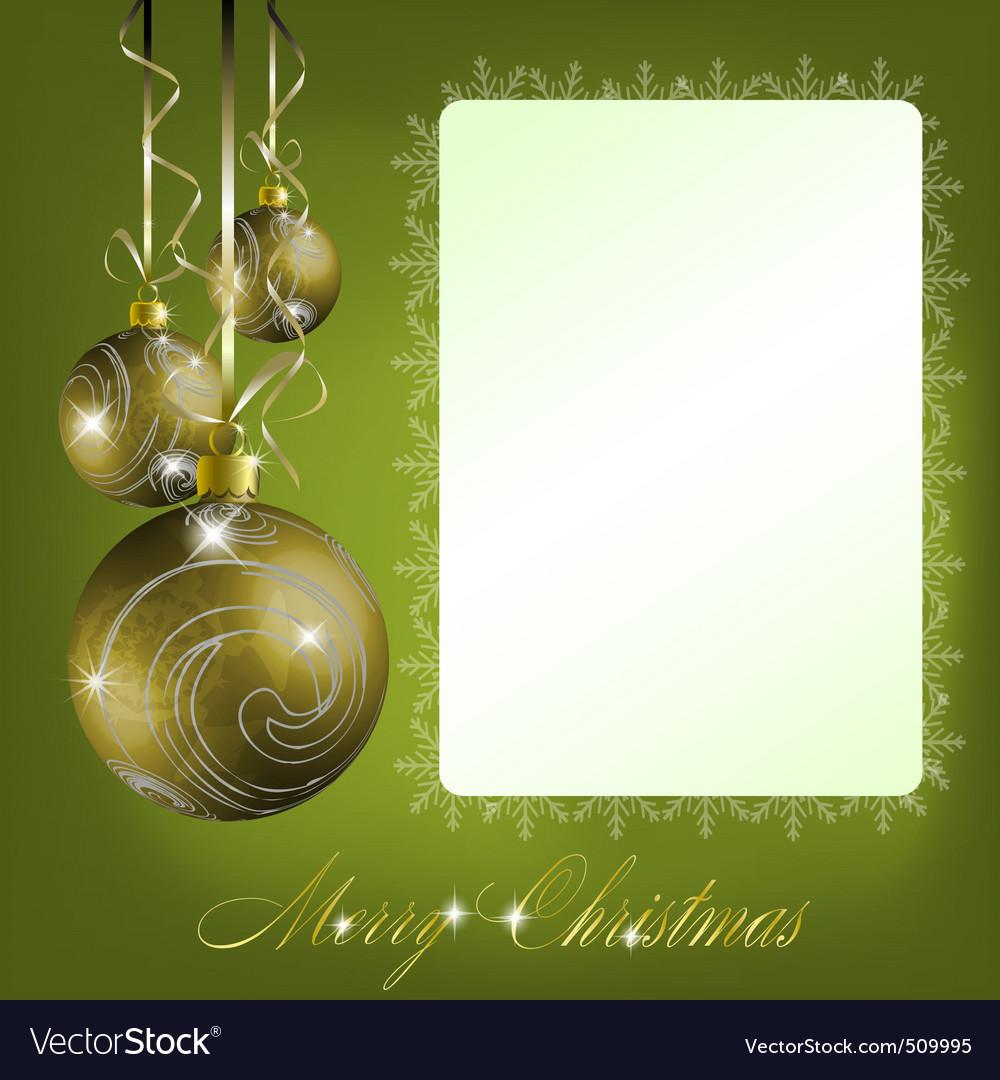 Green merry christmas postcard vector image