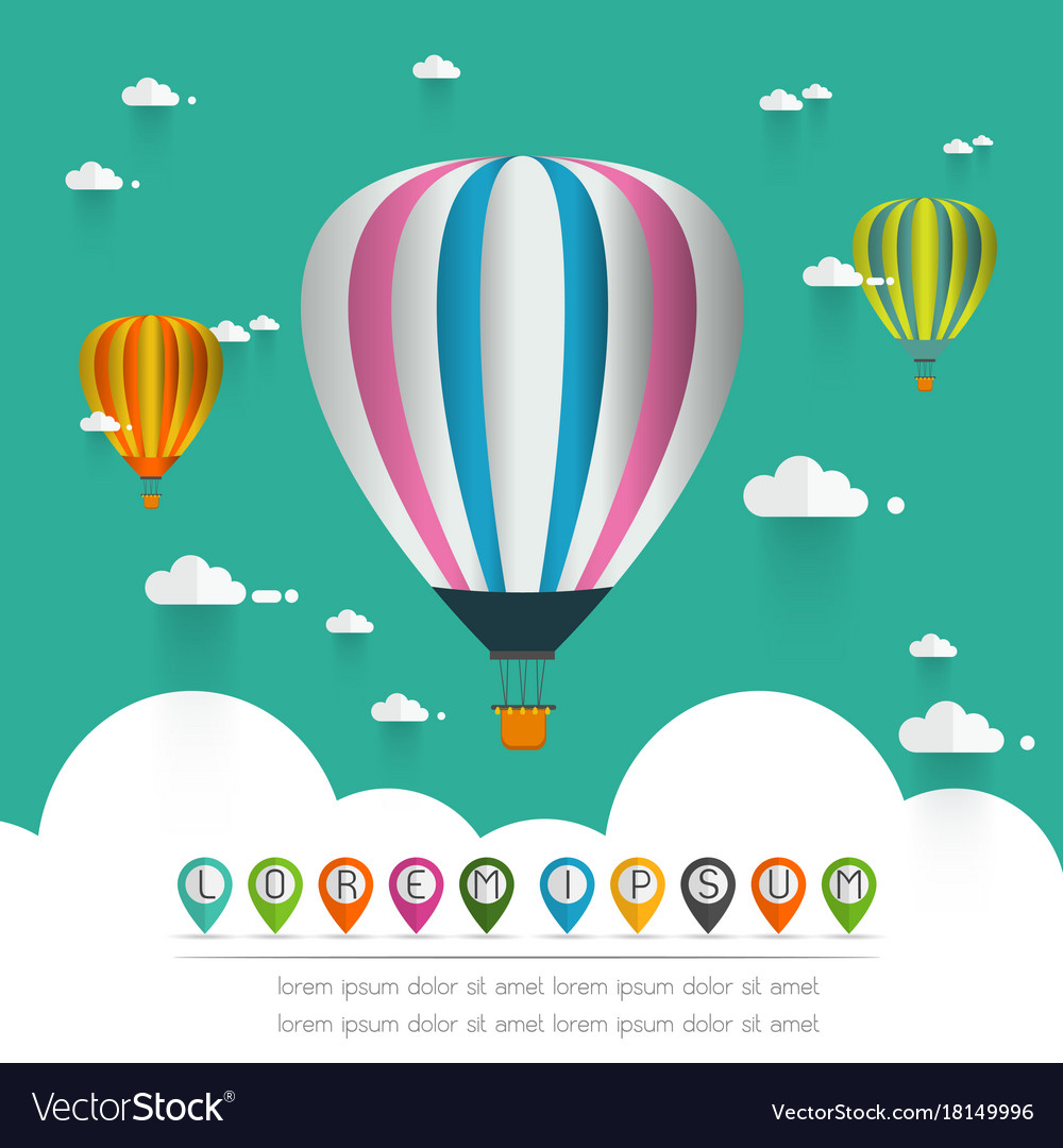 Hot air balloon in the sky over moutain vector image