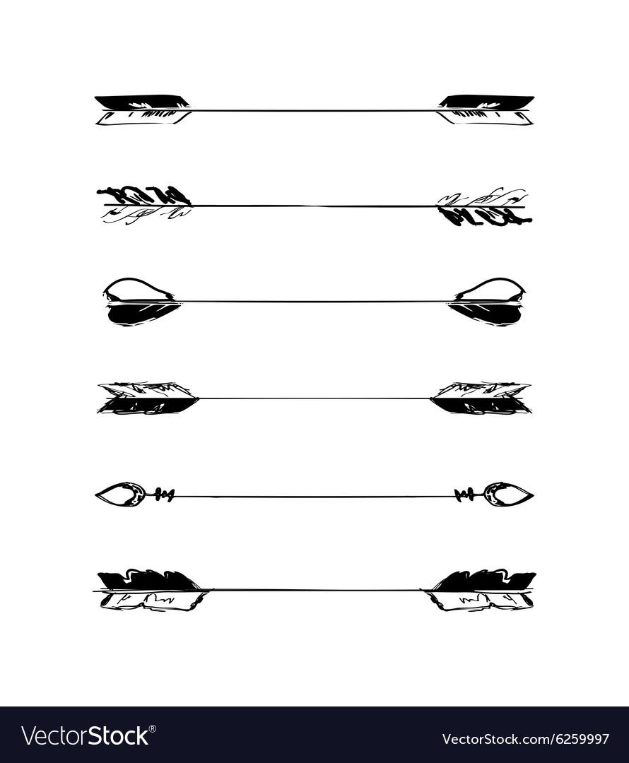 Retro scribble hand-drawn dividers set vector image