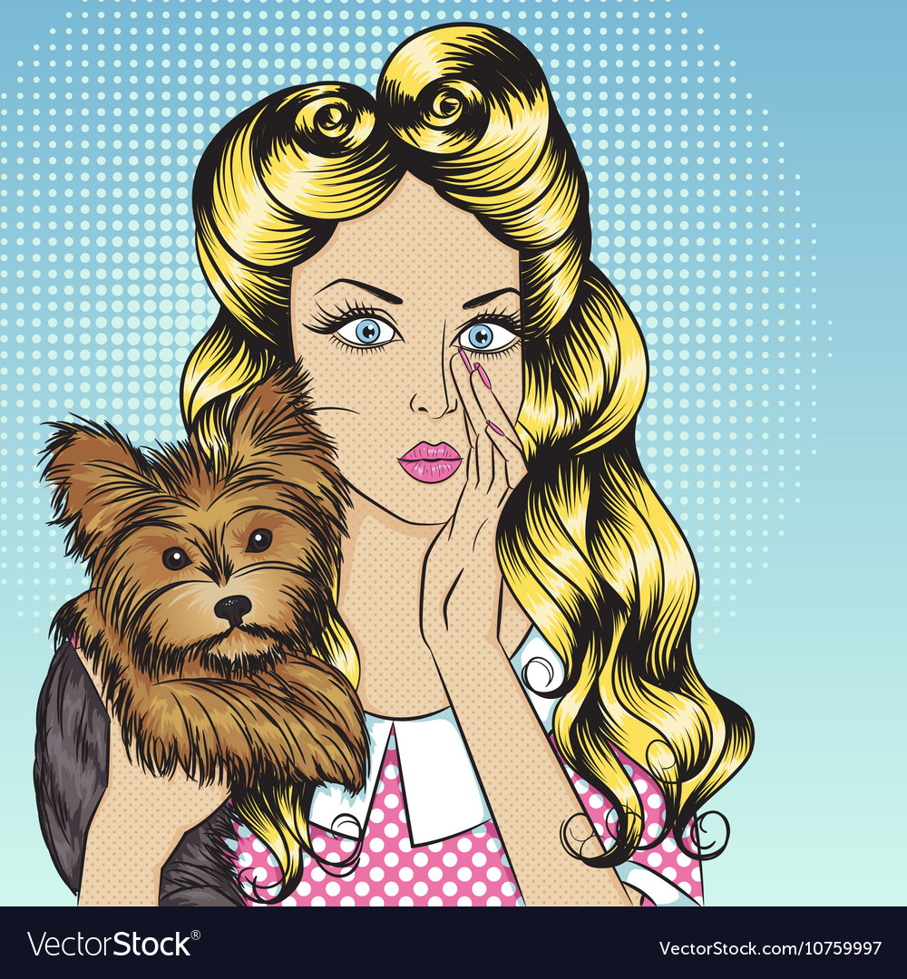 Sexy girl with little dog Yorkshire Terrier vector image