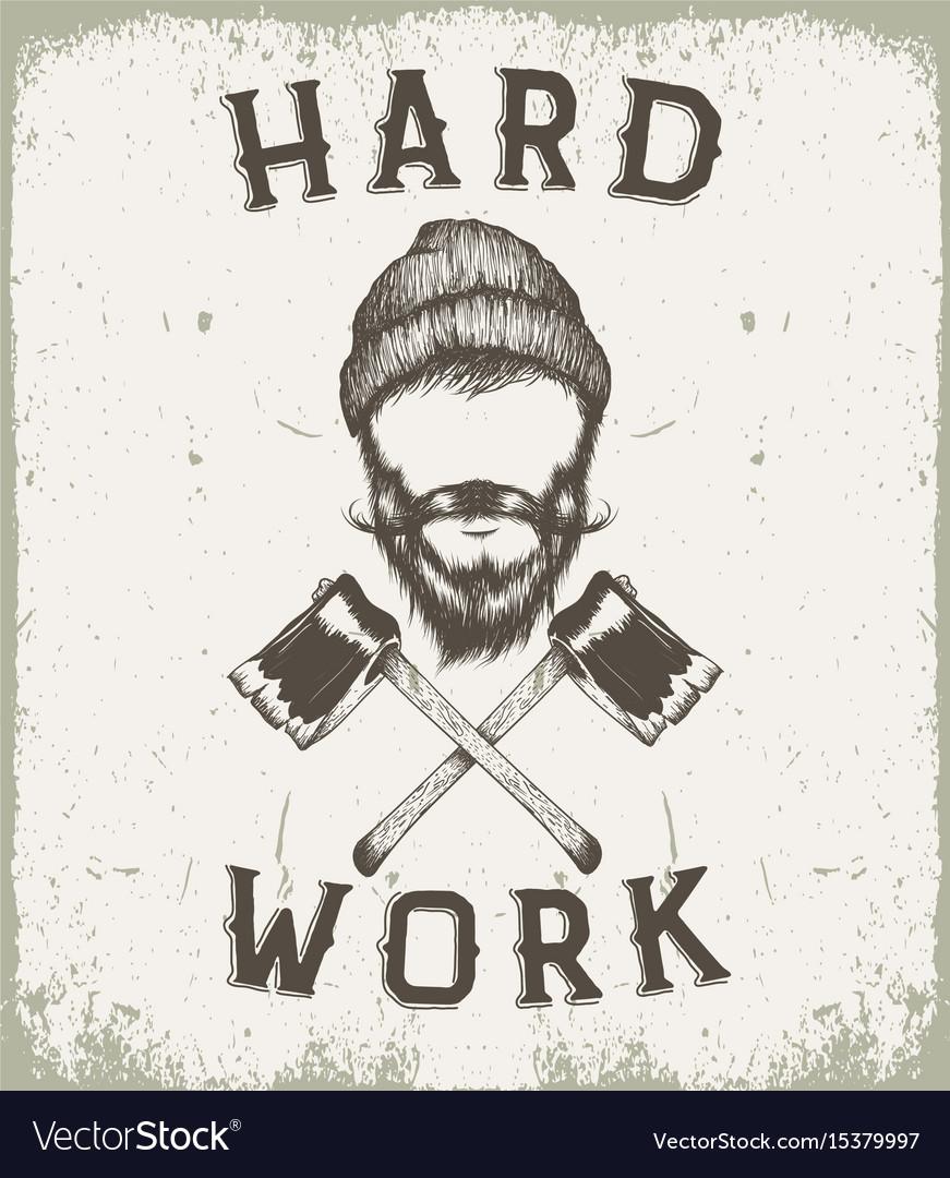 Vintage prints label for lumberjack style vector image