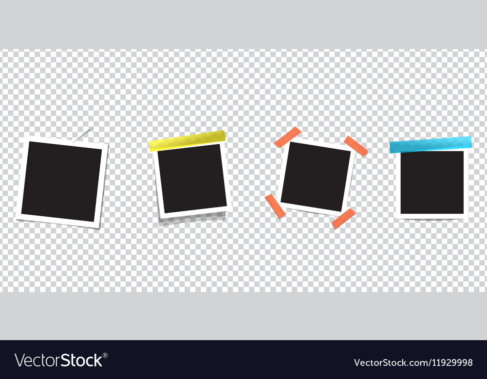 Blank Photo frame on scotch tape Isolated on vector image