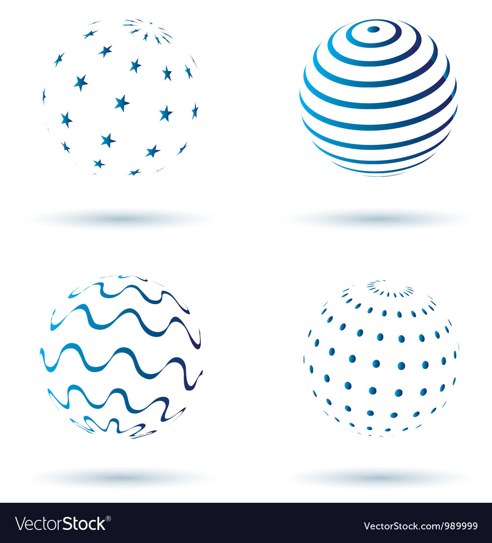 Abstract set of globe icons vector image
