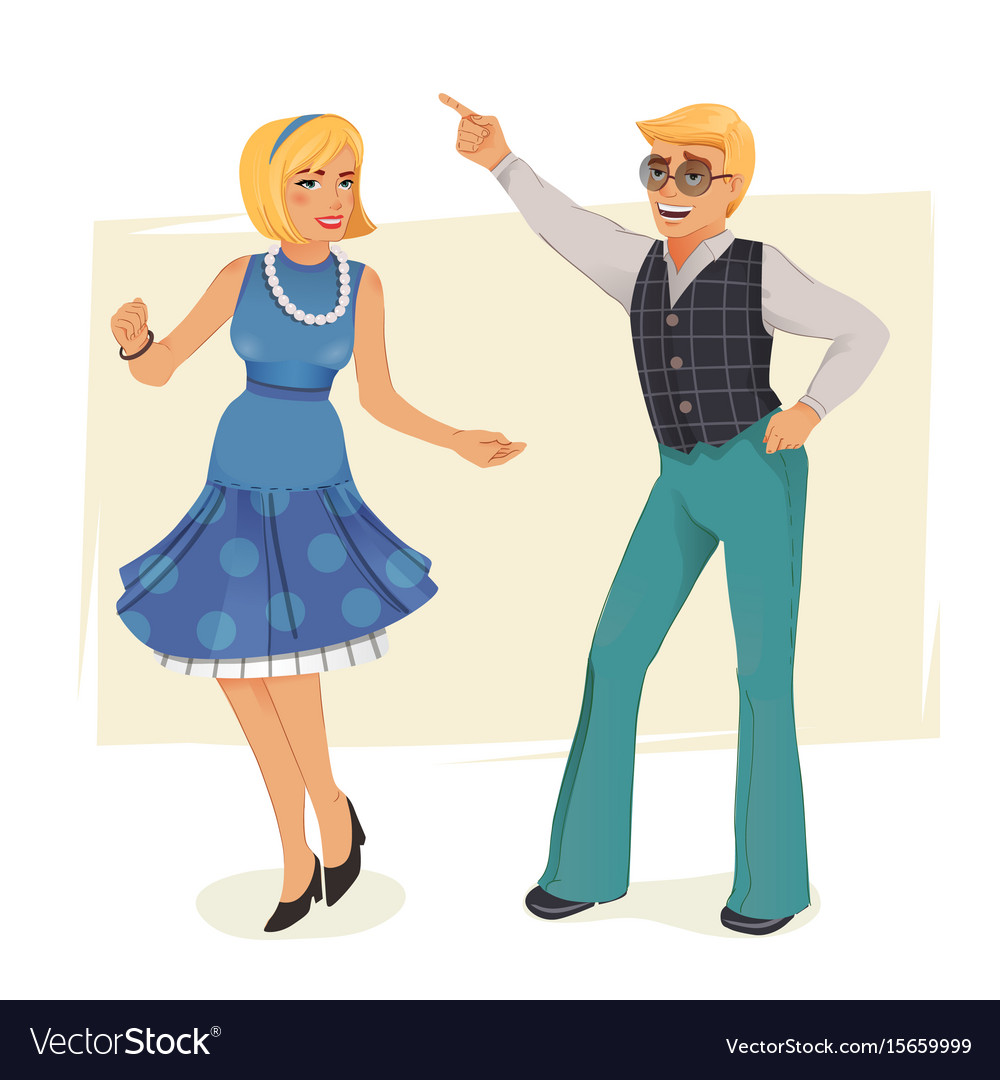 Dancing people in retro style vector image