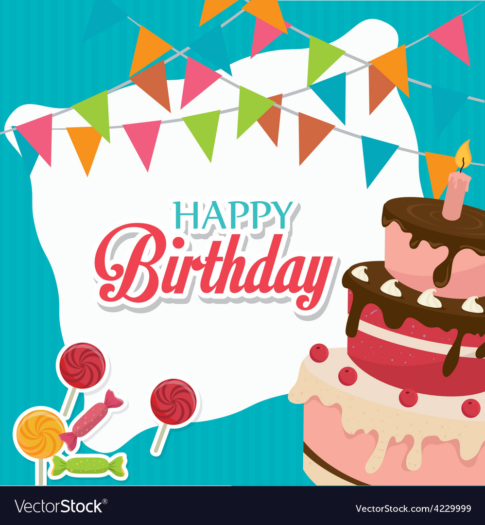 Happy birthday card design royalty free vector image happy birthday card design vector image bookmarktalkfo Images