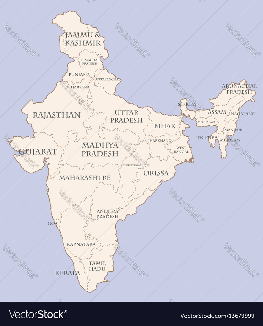 India contour map with states vector image