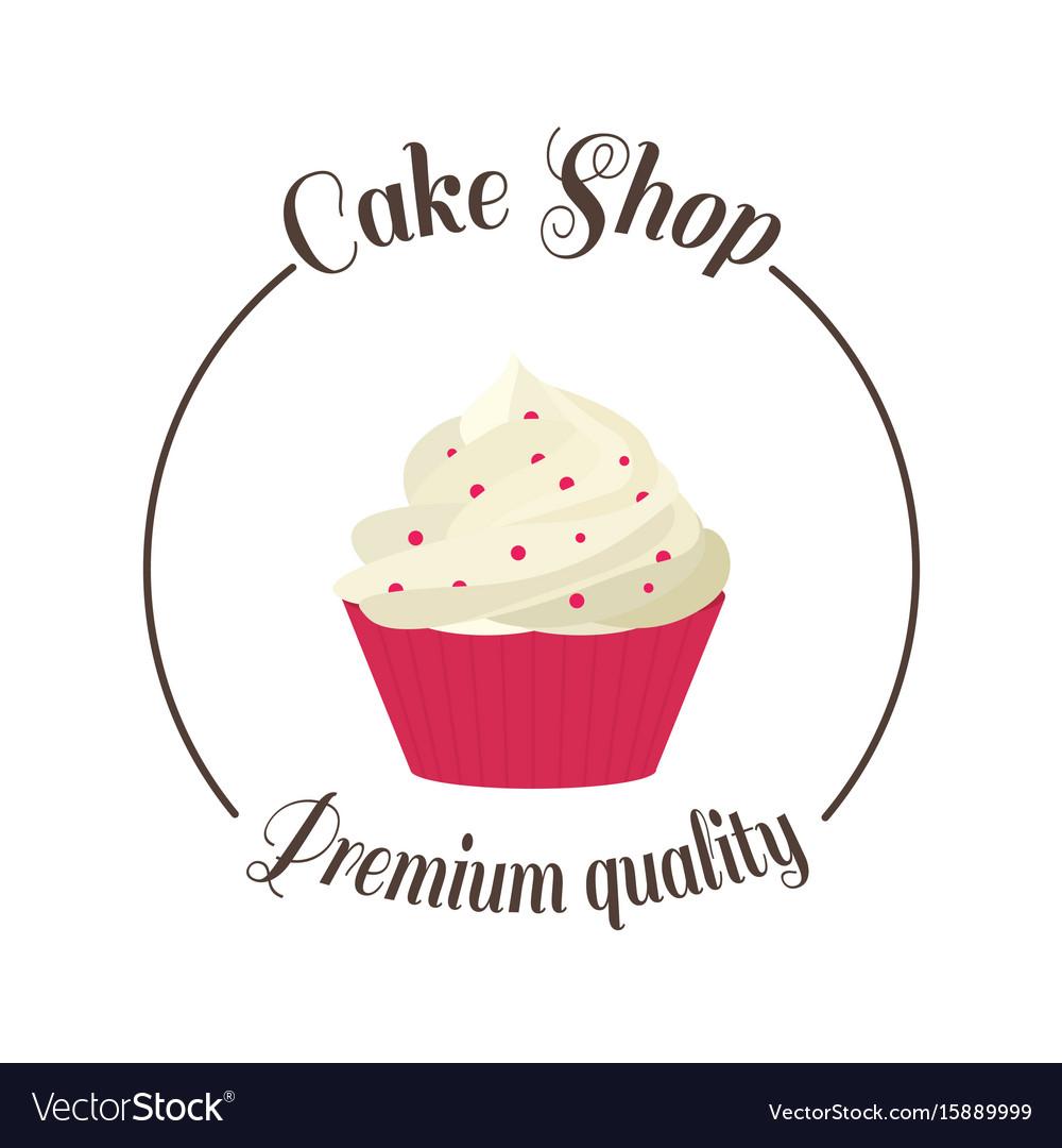 Logo sweet cupcake shop template badge logo for vector image