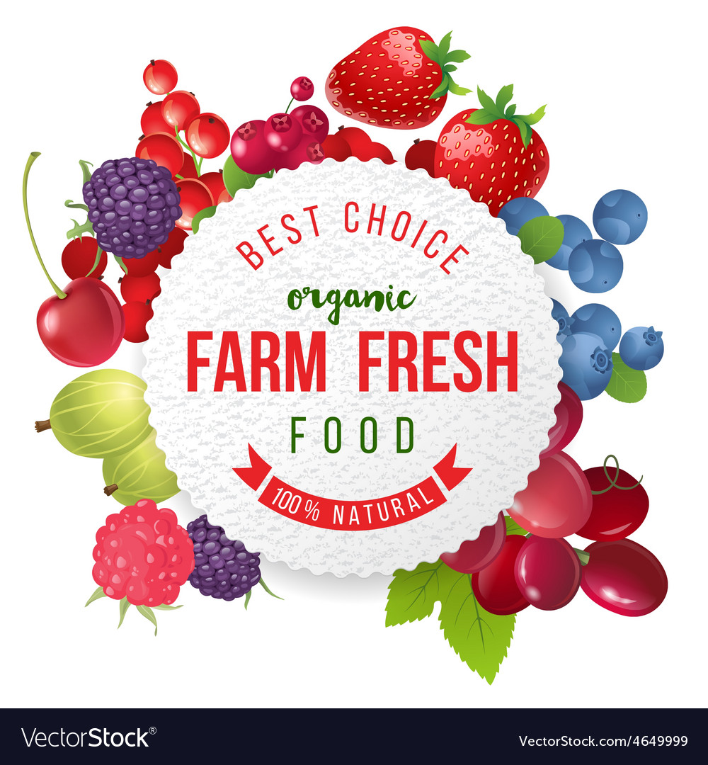 Round emblem with fresh berries and type design vector image