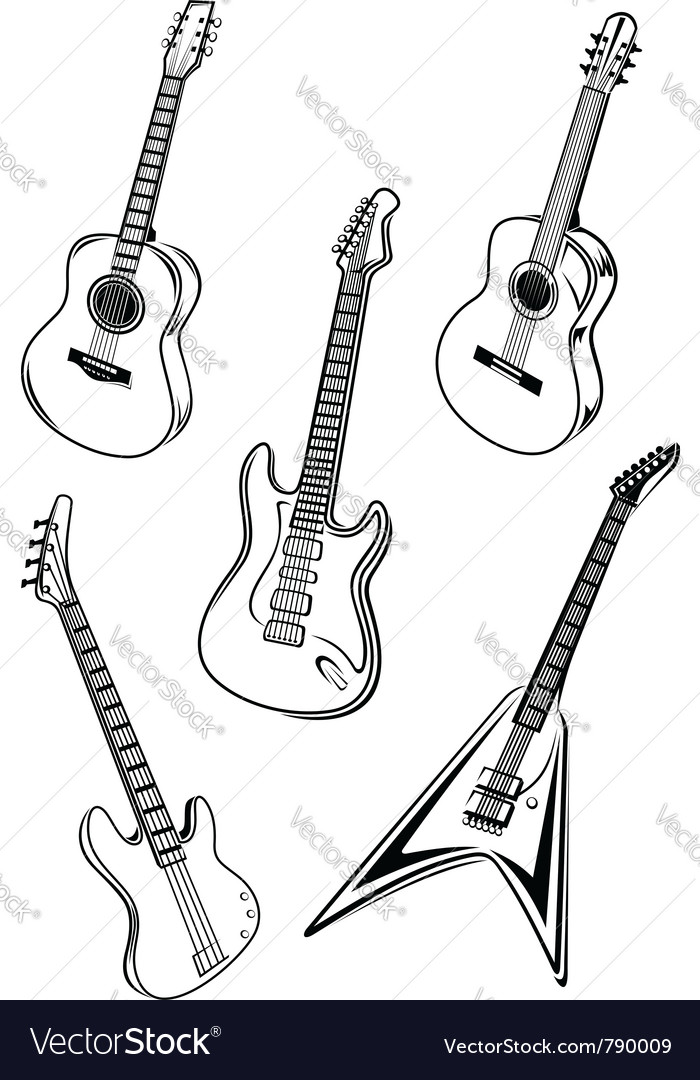 Set of guitars vector