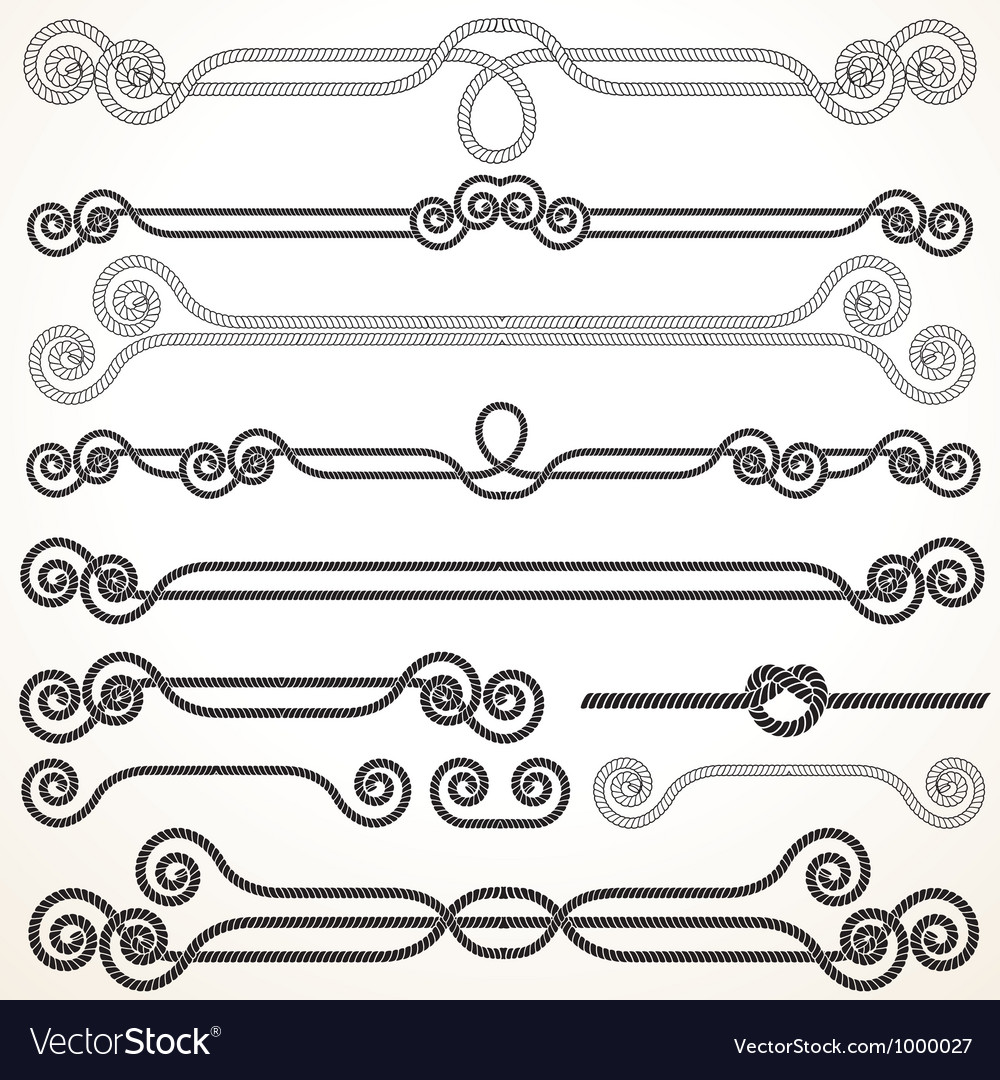 Rope borders and frames vector