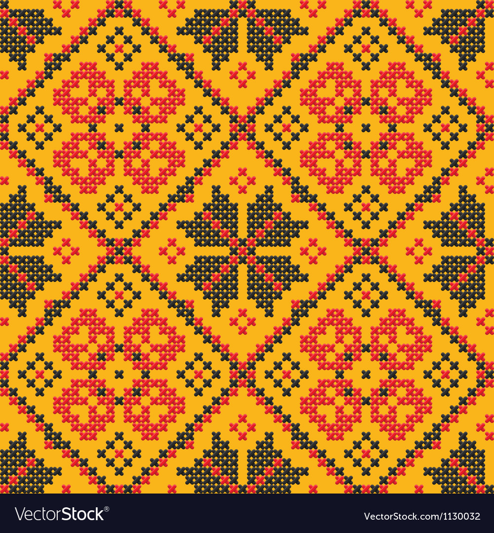 Ethnic cross stitch texture vector