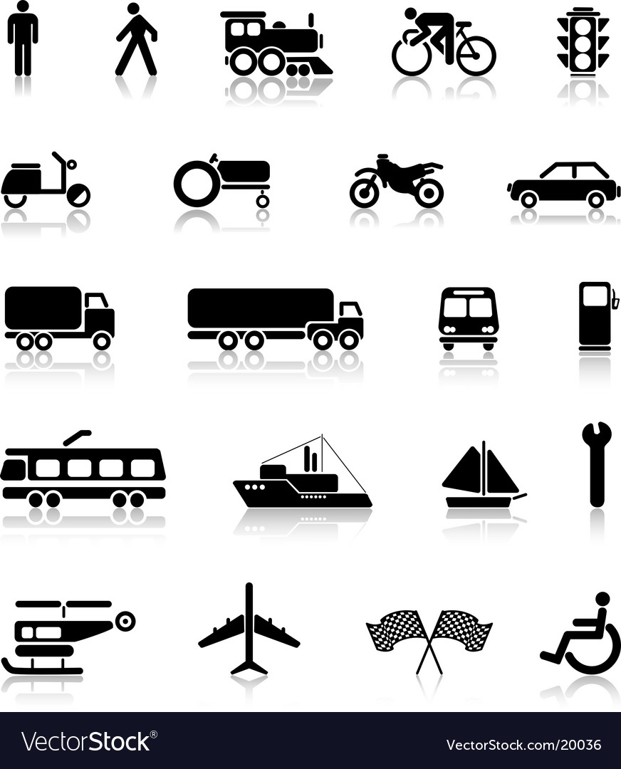 Silhouettes of transport vector