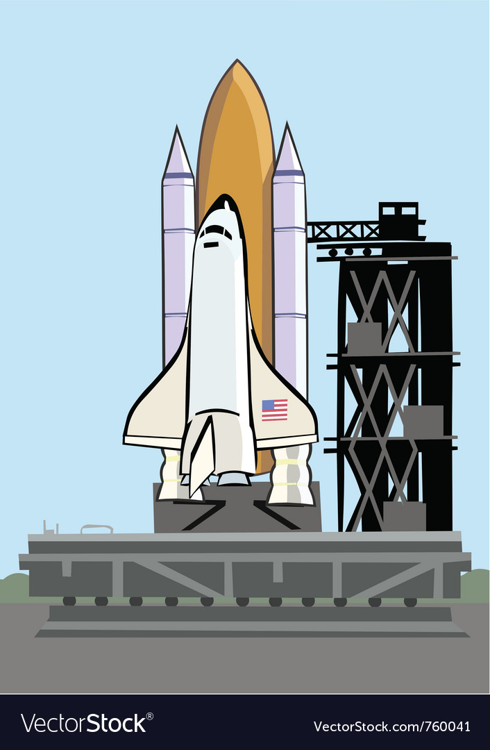 Space shuttle at launch pad vector