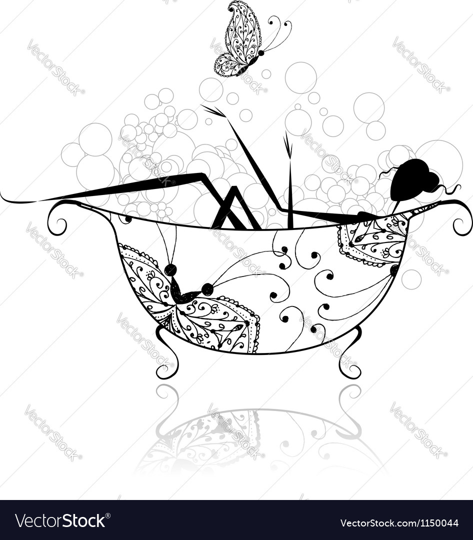 Woman in bathroom with foam for your design vector