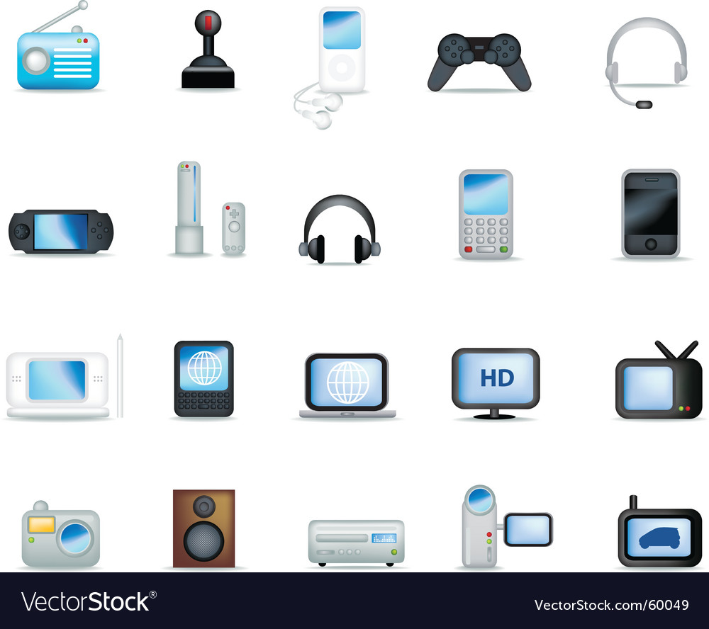 Electronics detailed vector
