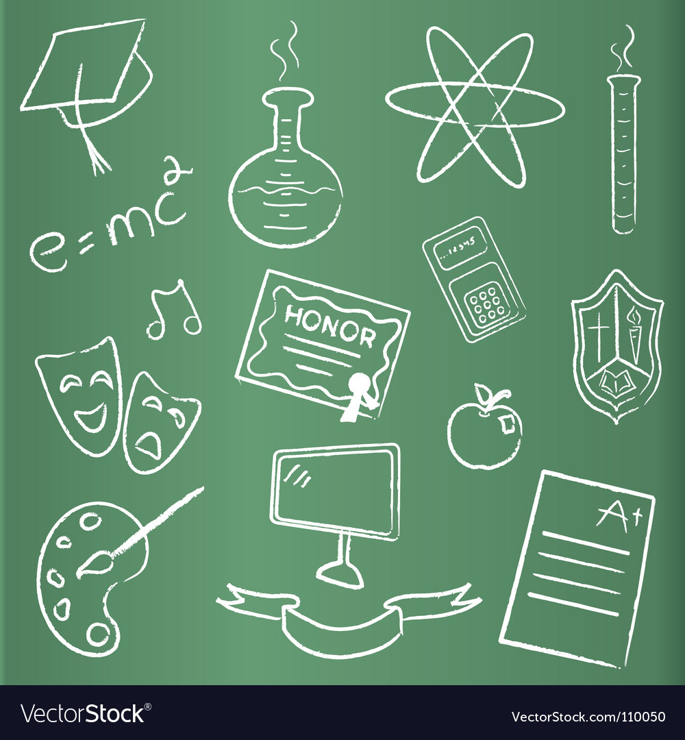 Chalkboard with graduation icons vector