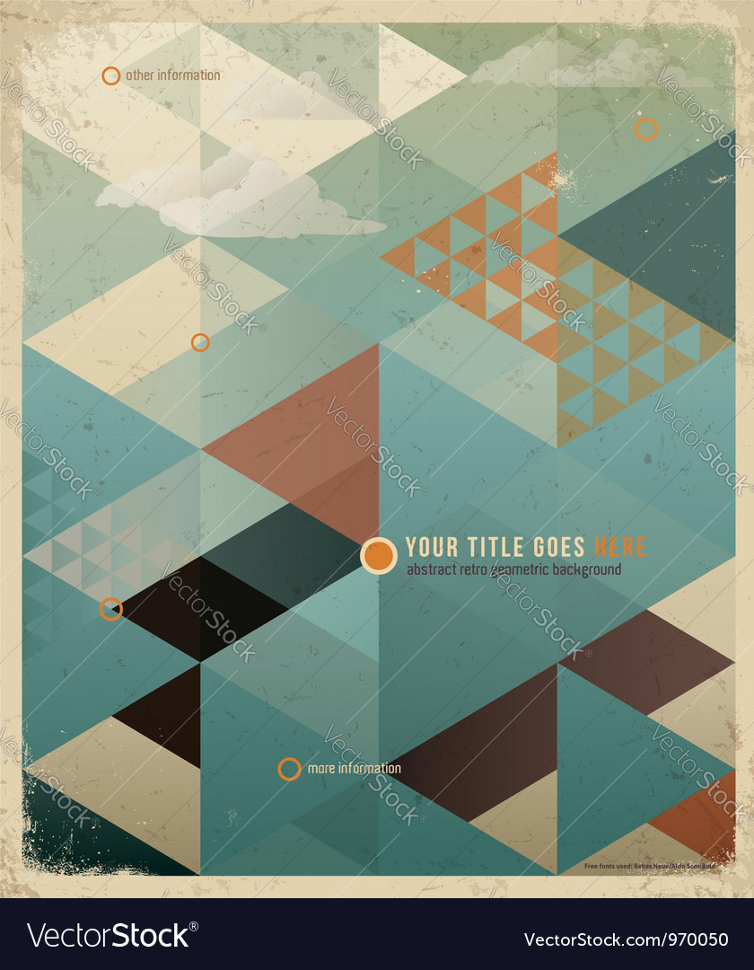 Triangle retro background vector