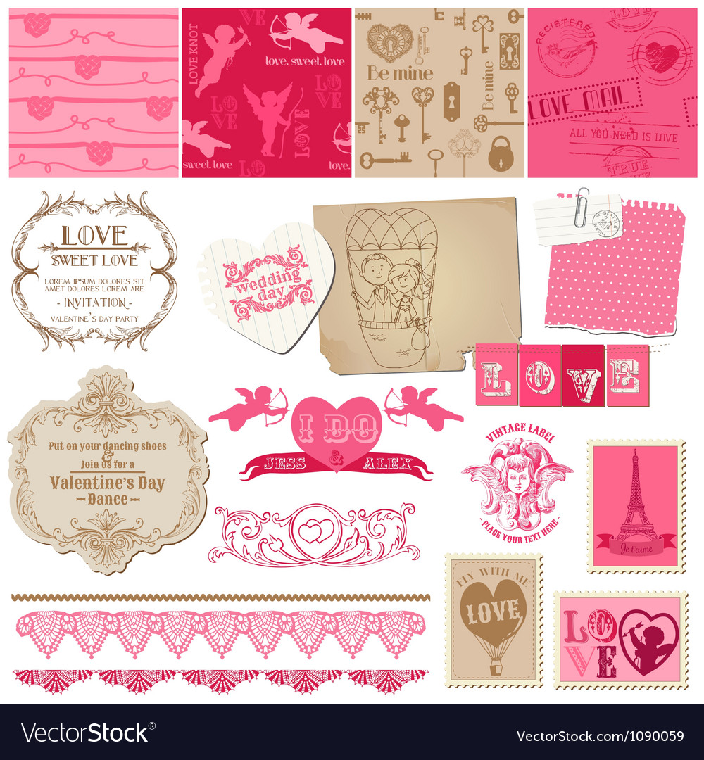 Scrapbook love set of design elements vector