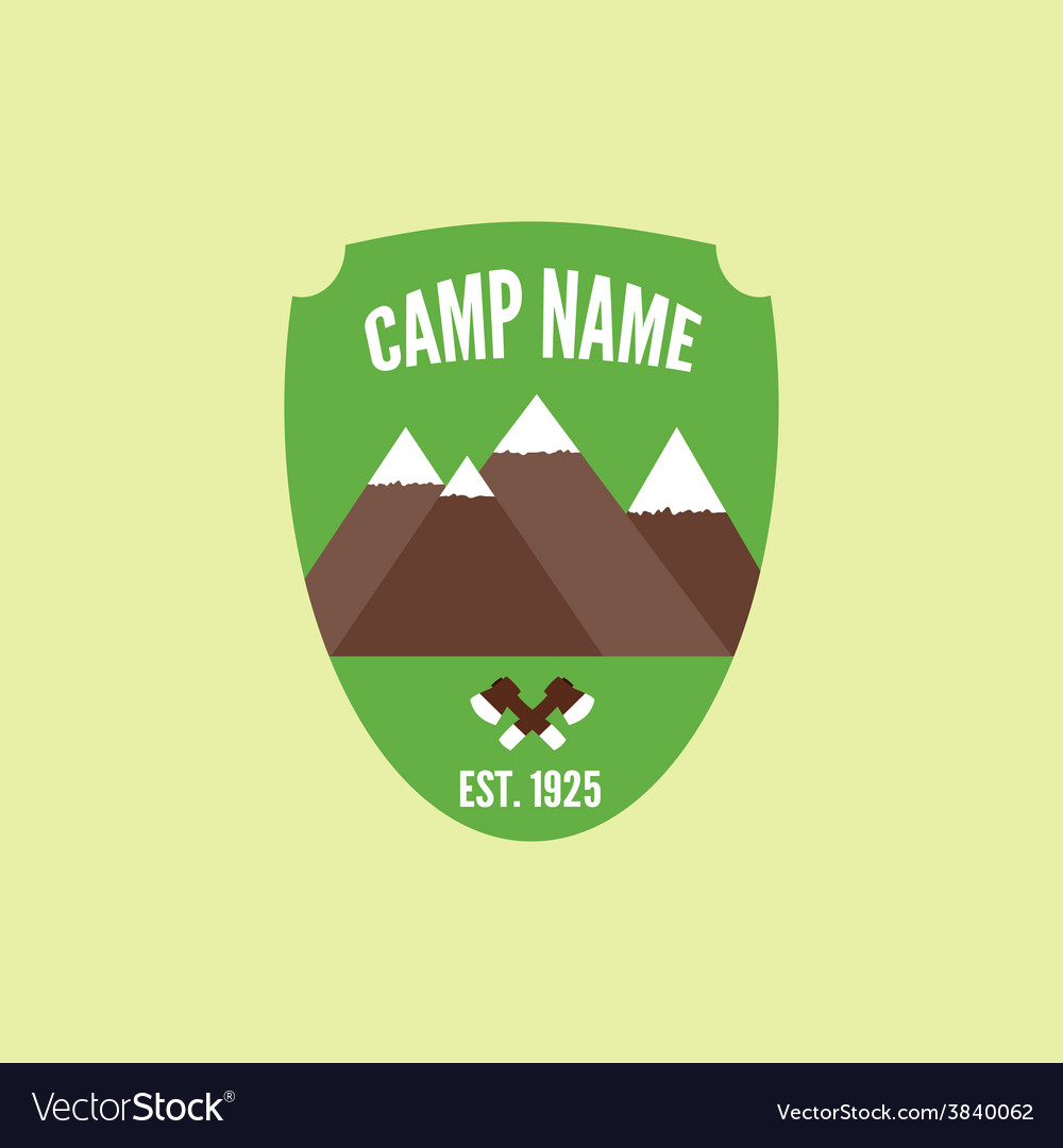 Camping mountain logo with axe colorful labels and