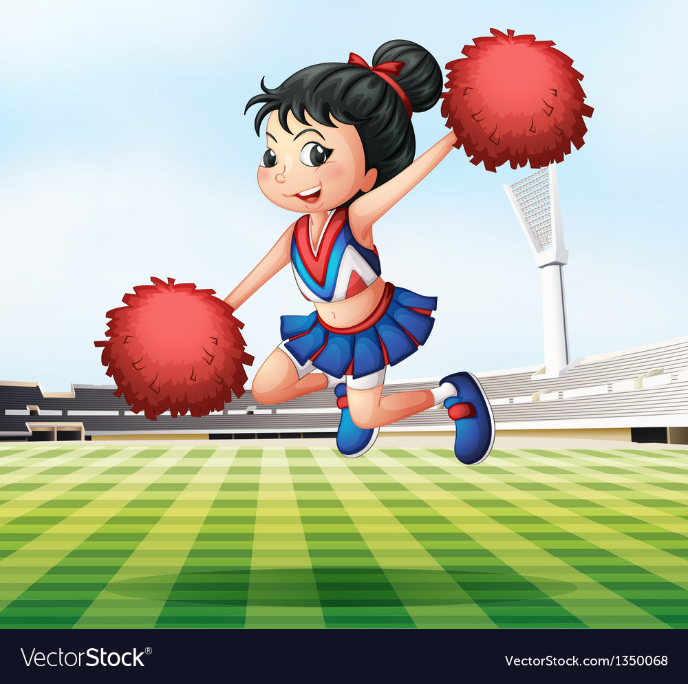 A pretty and energetic cheerdancer vector