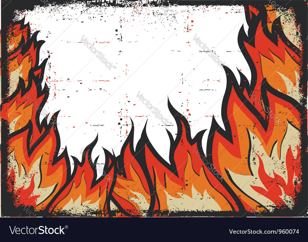 Grunge fire frame background vector