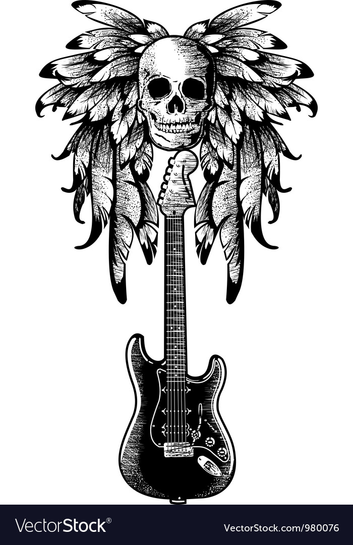 Free wings with skull guitar vector