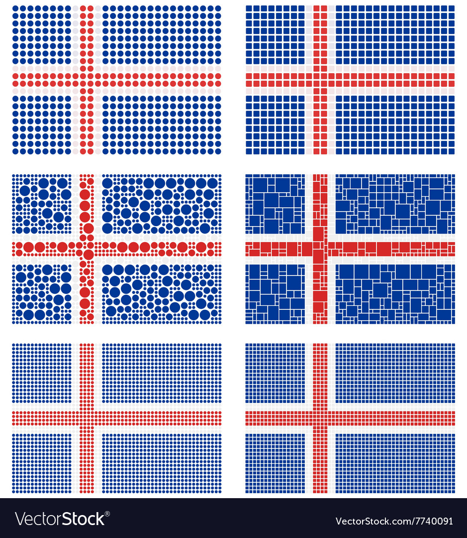 Mosaic iceland flag set