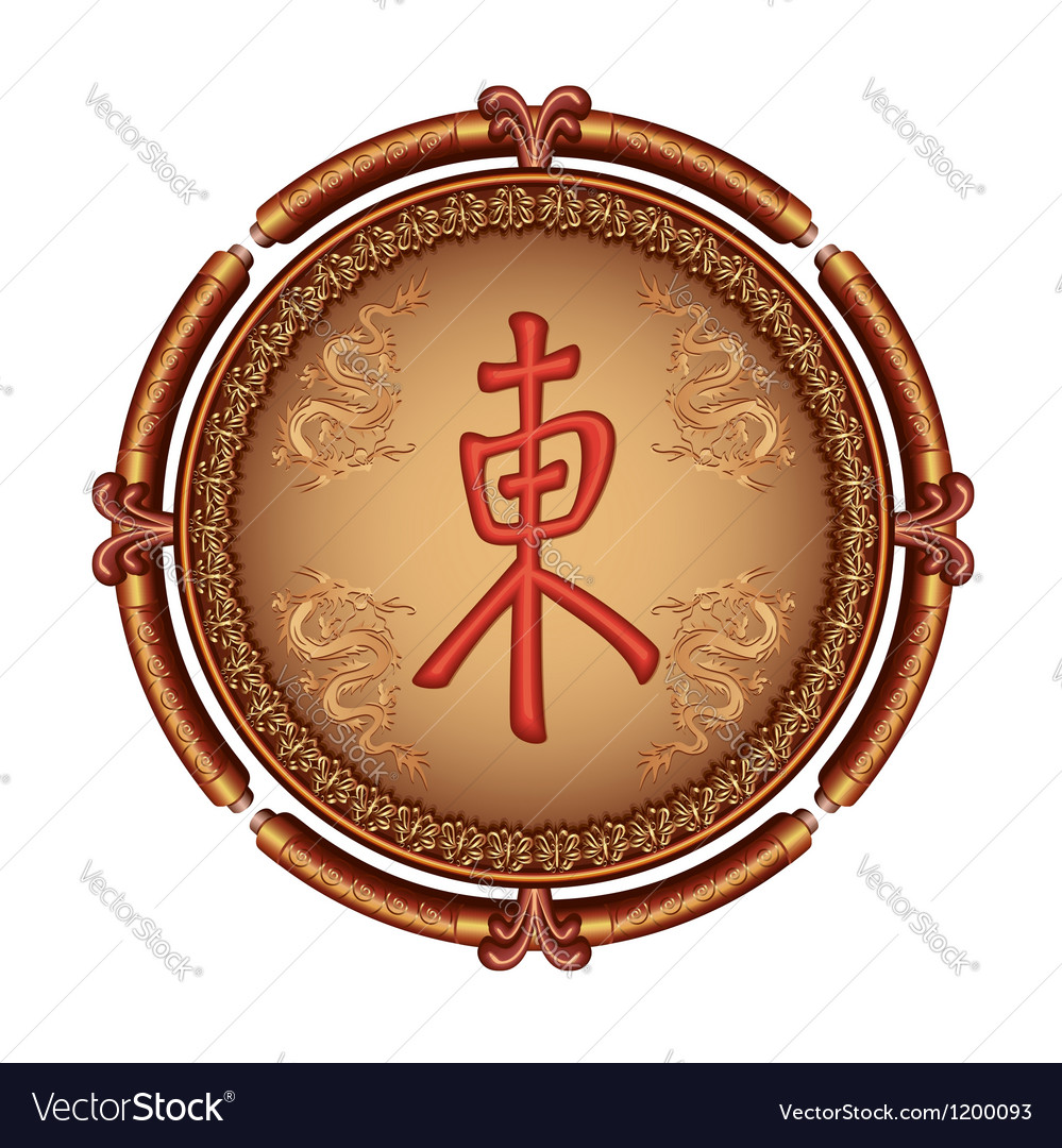 Japanese decorative frame with dragon and symbol vector