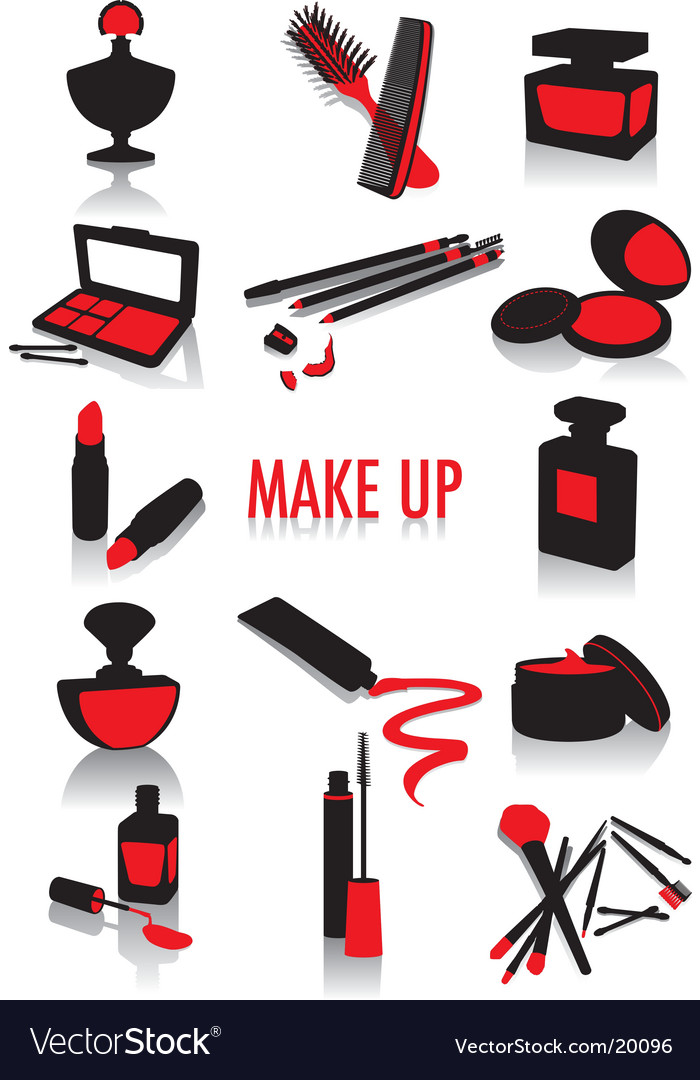 Makeup silhouettes vector